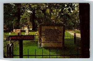 Petersburg IL, Grave Of Ann Rutledge, Abraham Lincoln, Chrome Illinois Postcard
