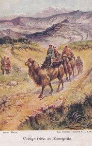 Village Life In Mongolia Antique Transport Old Postcard