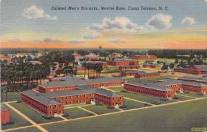 Camp Lejeune North Carolina~Marine Corps Base~Enlisted Men's Barracks~1942 Linen