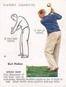 Player Vintage Cigarette Card Golf 1939 No 17 Spoon Shot Bert Hodson