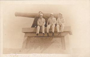 Cuba Sailors Sitting On Marine Monument Fisherman's Point Real Photo