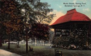 Music Stand, Spring Park, Richfield Springs, N.Y.,  Early Postcard, Unused