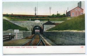 St Clair Railroad Tunnel Train Port Huron Michigan 1907c postcard