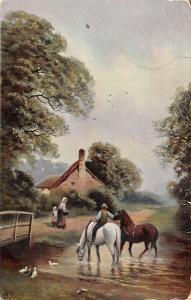 US2862 Village House, Maison Horses drinking Water River Chevau hildesheim