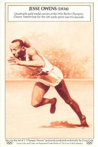 JESSE OWENS Olympic Hero sportsman postcard produced exclusively by Coca-Cola