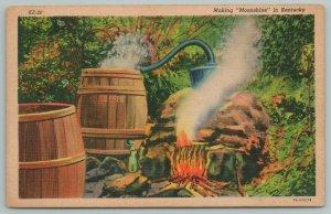 Kentucky~Making Moonshine In The Hills~Vintage Postcard
