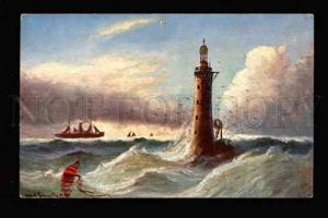 015804 LIGHTHOUSE in Scotland Sign Vintage colorful TSN PC