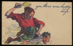 Yes, those were happy days. Man spanking child. 1908 Defeated, Tennessee cancel