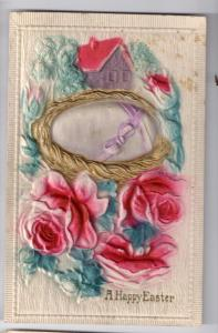Airbrushed Easter Postcard Embossed Egg Gold Nest Roses