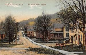 Masonville New York Main Street Scene Residential Antique Postcard K19501