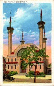 Irem Temple Mosque Wilkes Barre PA early view c1915-20 old car sunset Islam