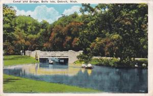 Michigan Detroit Canal and Bridge Belle Isle