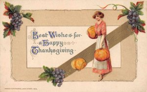 Thanksgiving Greetings Woman with Pumpkins Winsch Vintage Postcard JJ658802