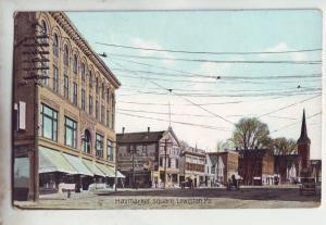 P1168 lold unused postcard haymarket sq scene horse & wagons lewiston maine