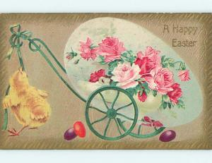 Divided-Back Easter CHICK WITH GREEN EGG AND ROSE FLOWERS ON CART o6578