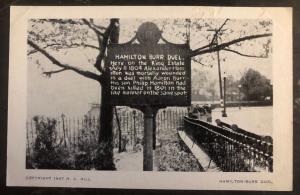 Mint Weehawken USA RPPC Real Picture Postcard Hamilton Burr Duel Bronze Tablet