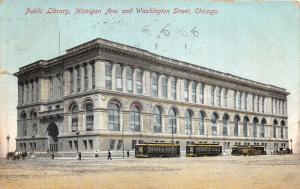 Chicago Illinois~Public Library~Michigan Avenue/Washington Street~Trolleys~1910