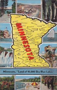 10-Views, State map of Minnesota, Land of 10,000 Sky Blue Lakes, 30-40s