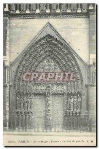 Old Postcard Paris Notre Dame Facade Left Portal