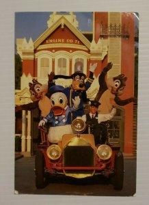 VTG Postcard Disney World Main Street Volunteers Goofy Donald Chip Dale 1988 478