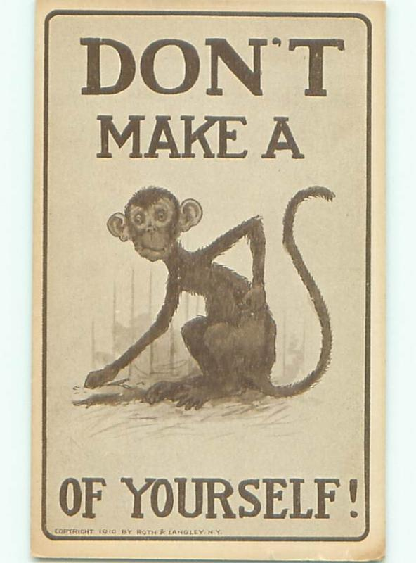 Pre-Linen Comic DON'T MAKE A MONKEY OF YOURSELF AB9617
