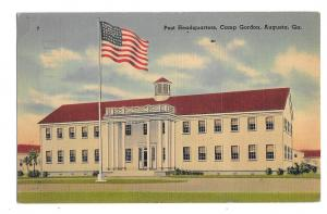 Camp Gordon Post Headquarters Augusta GA American Flag Vintage 1943 Postcard