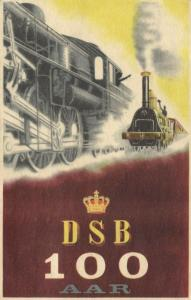 denmark, 100 Aar DSB, Danish State Railways (1947) Stamps