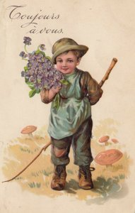Coujours a vous; 1909; Boy carrying bouquet of purple flowers and a stick