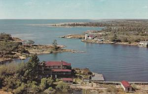 Air View, Water, Cabins, Trees, Peterborough, Onario, Canada, 40s-60s