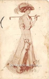Old Vintage Golf Postcard Post Card Golfing Lady 1910 Missing Stamp