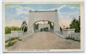 Old Chain Bridge Streetcar Newburyport Massachusetts 1920s postcard
