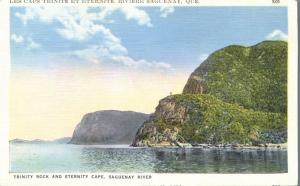 Trinity Rock and Eternity Cape on Saguenay River QC, Quebec, Canada - Linen