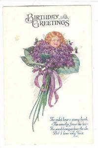 Birthday Greetings, Girl's fae in bouquet of violets, Poem, 00-10s