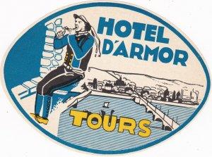 France Tours Hotel D'Armor Vintage Luggage Label sk1145