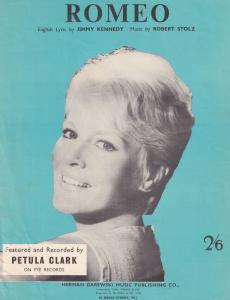 Romeo Petula Clark 1950s Sheet Music