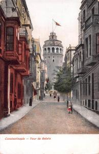 Constantinople, Turkey, Tour de Galata, Early Postcard, Unused