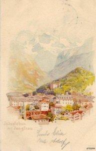 WATERCOLOR INTERLAKEN MITJUNGFRAU BERN SWITZERLAND 1905
