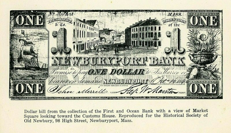 Postcard Reproduction Dollar Bill from First and Ocean Bank, Newburyport, MA.
