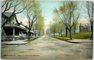 1908 Washington, Pennsylvania Postcard College St. from East Wheeling Houses