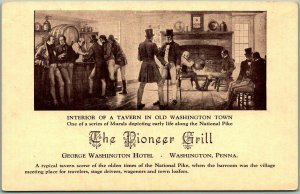 Washington, Pennsylvania Postcard PIONEER GRILL / Interior of a Tavern Mural