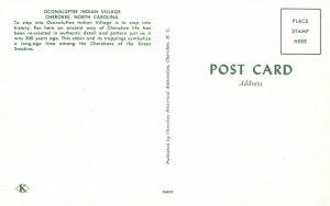 Vintage Postcard Oconaluftee Indian village Cherokee North Carolina NC