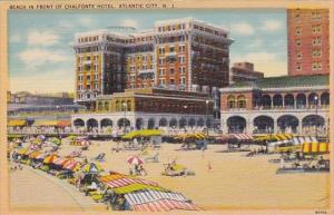New Jersey Atlantic City Beach In Front Of Chalfonte Hotel 1952