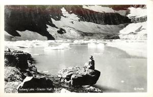 c1950 RPPC Postcard Iceberg Lake, Glacier National Park MT Marble Photo Unposted