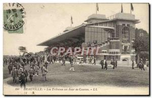 Old Postcard Horse Riding Equestrian grandstand Deauville racecourse