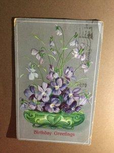 Vintage Birthday Postcard Green Planter with Purple Violets/Violets
