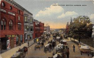 D76/ Benton Harbor Michigan Mi Postcard c1910 Fruit Buying Market Opera House 2