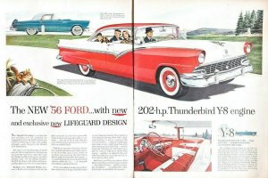 1955 Ford Automobile Car Vintage Print Ad 1956 Model TWO Sheet Advertisement