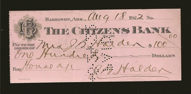 The Citizens Bank Harrison ARK 1922 Cancelled Check