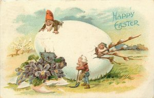 Fantasy Easter~Gnomes Work In & On Exaggerated Egg~Pussy Willows~Emboss~Germany