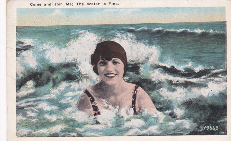 Woman in the ocean swimming, Come and Join Me; The Water is Fine, OCEAN GRO...